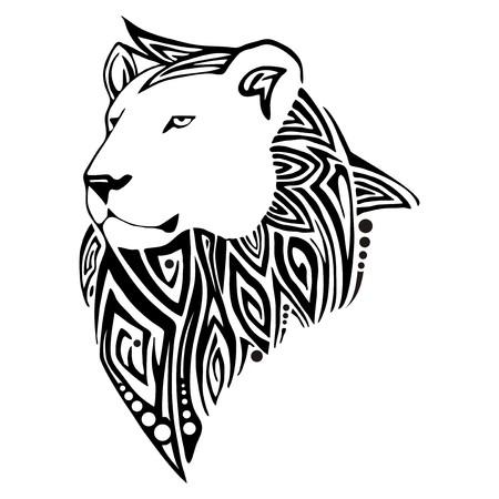 lion face: Leo head tribal tattoo vector Illustration