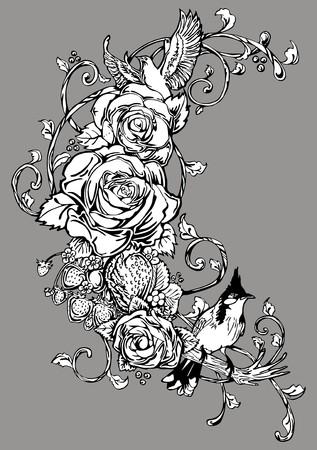 Rose bird strawberry vintage tattoo ornament  Ilustração