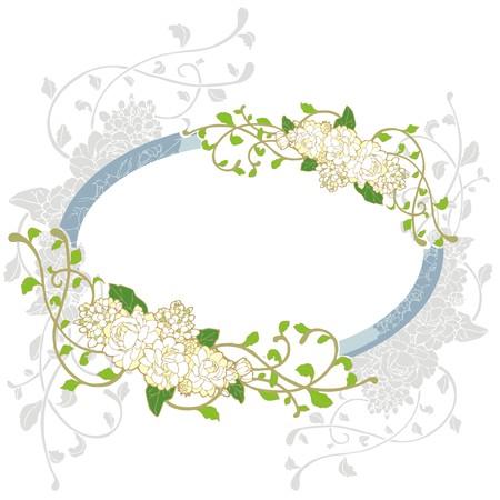 jasmine: jasmine flower vintage frame greeting card