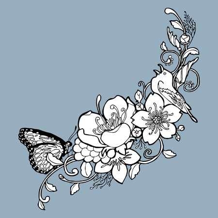 beatific: vintage flower butterfly vine drawing