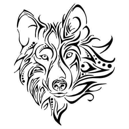 Wolf hoofd tattoo Stock Illustratie