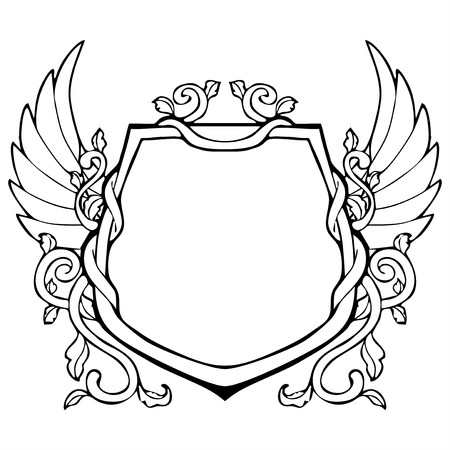 glorification: glory frame in Shield shape with wing vintage drawing