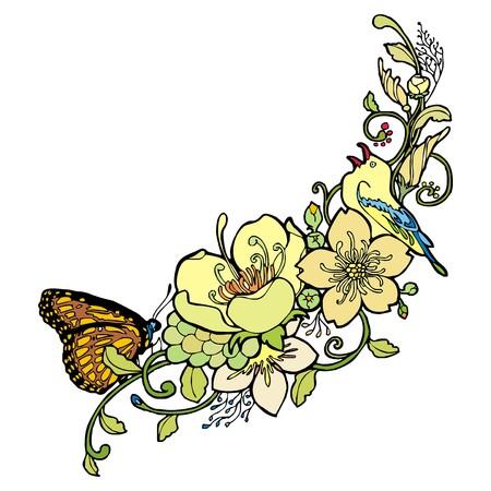benign: little bird butterfly flower painting ornament