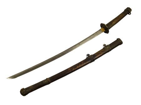 glorification: ancient Samurai sword isolate Stock Photo