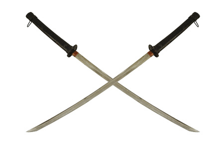 glorification: cross two ancient samurai sword with isolate