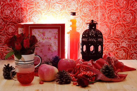 circumstantial: Romantic red theme nectar rose vintage lamp apple decor idea background