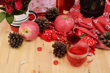 circumstantial: Romantic red theme nectar rose vintage lamp apple decor idea background