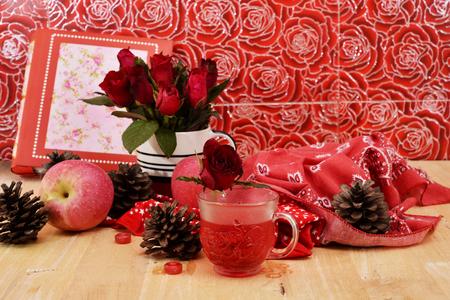 circumstantial: romantic red theme nectar rose vintage lamp apple decor idea backround