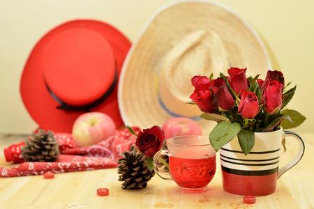 romantic red theme rose vintage lamp apple decor idea backround Stock Photo