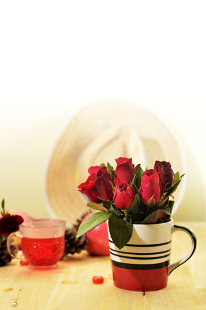 circumstantial: romantic red theme rose vintage lamp apple decor idea backround Stock Photo