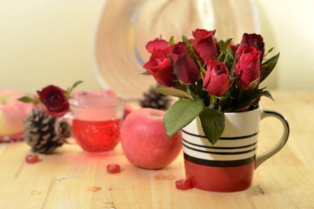 circumstantial: romantic red theme rose vintage lamp apple decor idea backround Stock Photo