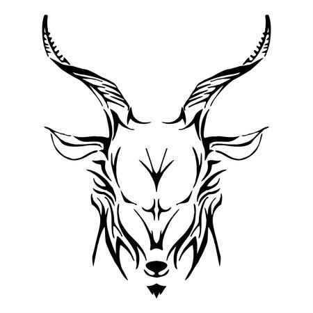 goat head tribe tattoo vector Vector