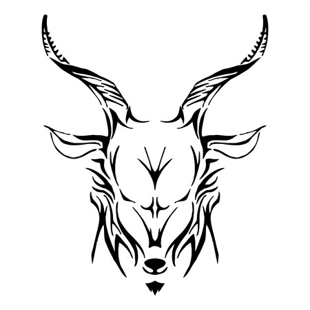goat head: goat head tribe tattoo vector