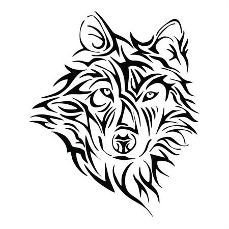 Wolf head tattoo tribe vector