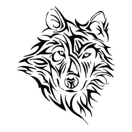 wolf head: Wolf head tattoo tribe vector
