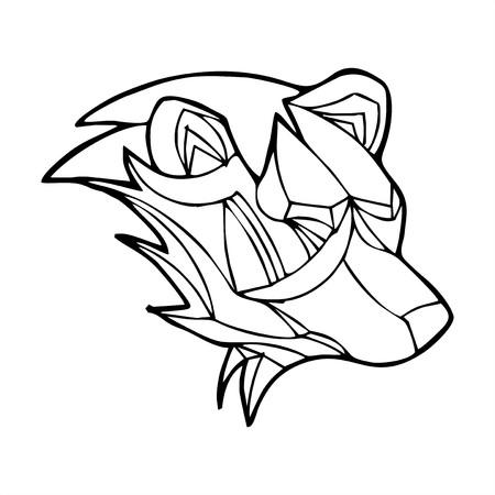 Bear head polygon vector Vector