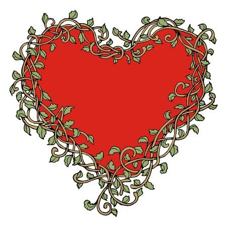 benign: heart with vine vintage frame drawing vector Illustration