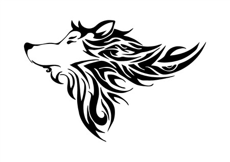 wolf head tribal design tatoo vector Vector