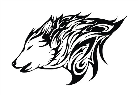 wolves: wolf fire flame head tattoo logo vector
