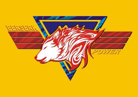 wolf tatoo fiamma con l'ala decorare per schermo a colori
