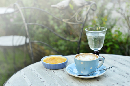 hot cappuccino and custard with vintage garden background Standard-Bild