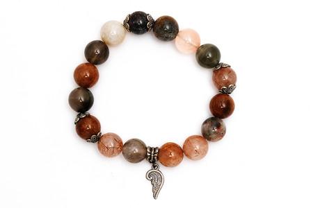 bracelet mix lucky stone with white background