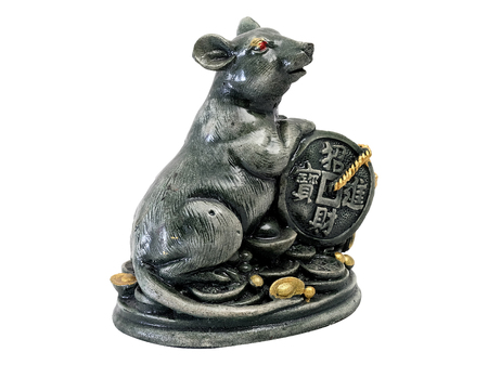 bonanza: mouse and Chinese figurine of holy object with white isolate background