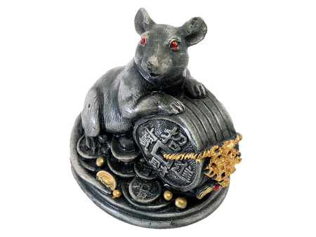 plucky: mouse and Chinese figurine of holy object with white isolate background