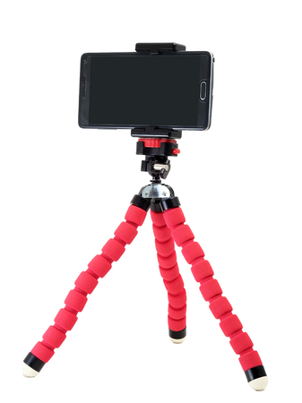 smart phone hold on with tripod in white isolate background Archivio Fotografico