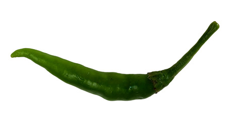 catsup: one  Thai green Chili pepper for make cooking with white isolate background
