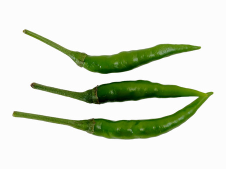 triple spicy by Thai green pepper for cooking with white isolate background