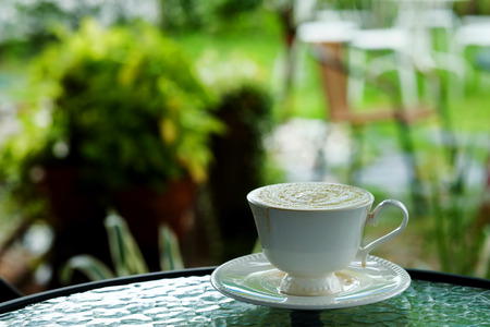 relaxing with hot cappuccino coffee Serve in white cup and catus in garden in the afternoon
