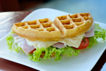 waffle sandwich with ham and cheese Served for morning time