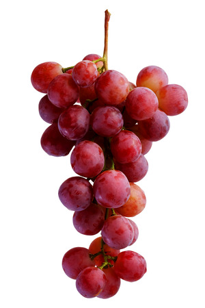 Bunches of fresh red grapes with white isolate background Stock Photo