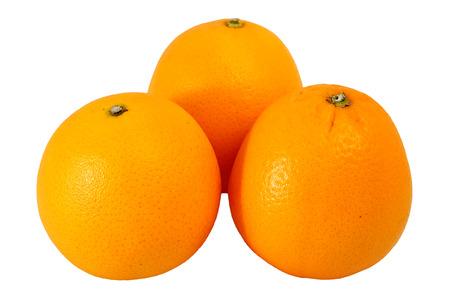 Group of Valencia orange or Navel orange with white isolated  background