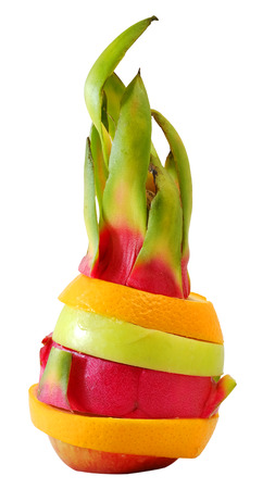 stature: Creative Standing mix colorful fruit with white isolate background Stock Photo