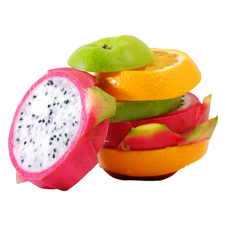 rive: Creative Standing mix colorful fruit with white isolate background Stock Photo