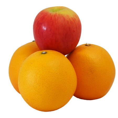 variance: winner red apple top on Group of Orange with white isolate background