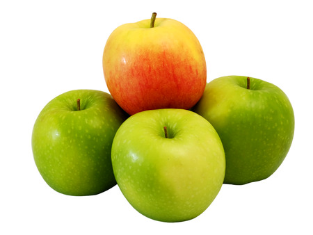 alone in crowd: winner red apple top on Group of green apple with white isolate background Stock Photo