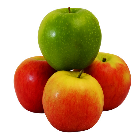 winner green Apple on group of red apple with white isolate background