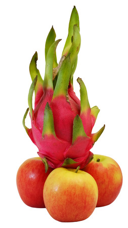 winner dragon fruit on group of red apple with white isolate background Stock Photo