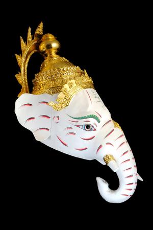 White Ganesha Thailand Khon mask head with Black isolated background Stock Photo