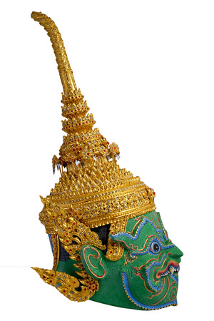 hostilities: Thai Khon mask head Called Indrajit, Inthorachit Tossakan Gian character from Ramakien story Stock Photo