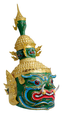 frenzied: Thai Khon mask  Tossakan ,Ravana King giants from Ramakien story with white isolated background Stock Photo