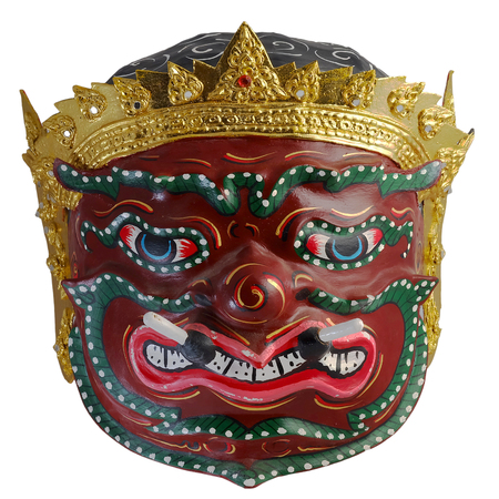 schoolmaster: Thai Khon mask  Phra Pirap, The Giant Headmaster of performing arts . whit white isolate background