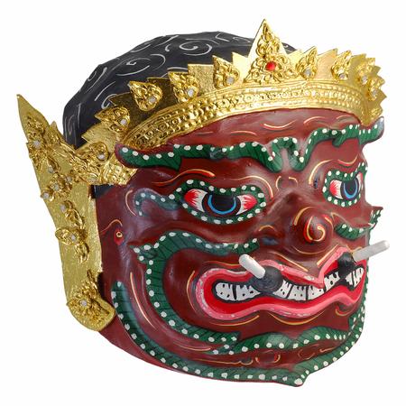 tercet: Thai Khon mask  Phra Pirap, The Giant Headmaster of performing arts . whit white isolate background