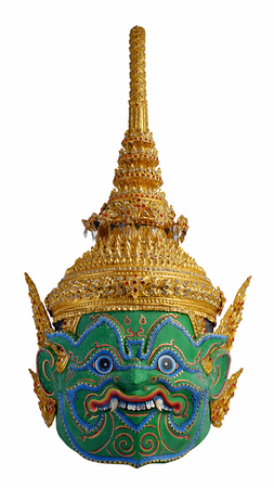 hostilities: Thai khon mask Indrajit or Inthorachit Son  of Tossakan   Giant with isolate background
