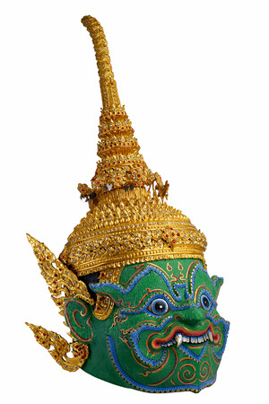 monumental: Thai khon mask Indrajit or Inthorachit Son  of Tossakan   Giant with isolate background
