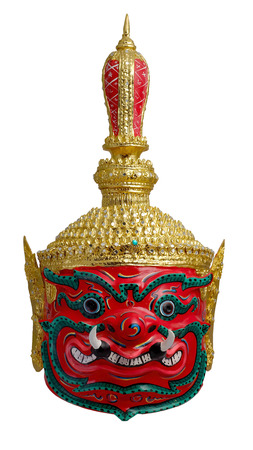 Thai khon red Giant mask  Called Thao wastsuwan, Giant head adloussopy of Headed giant Ravana, Udorn Guardian, Guardians of Buddhism with white isolated background