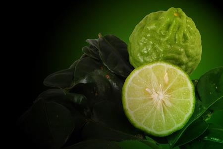 neutralize: Kaffir lime, Bergamot Thai herb is various properties, Green background